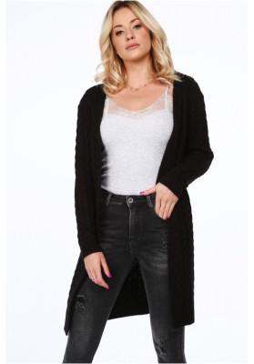 Dlhý dámsky sveter v klasickom štýle, čierny