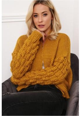 Štýlový, krátky sveter s dlhými rukávmi a nádherným vzorom, horčicový