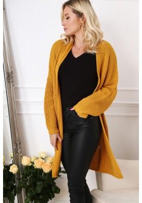Dlhý dámsky sveter v modernej farbe, horčicový