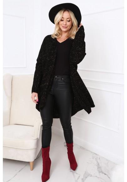 Dlhý dámsky sveter v modernej farbe, čierny