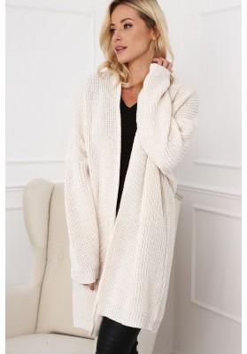 Dlhý dámsky sveter v modernej farbe, krémový