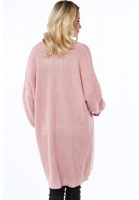 Dlhý dámsky sveter v modernej farbe, ružový