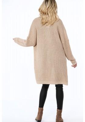 Dlhý dámsky sveter v modernej farbe, béžový