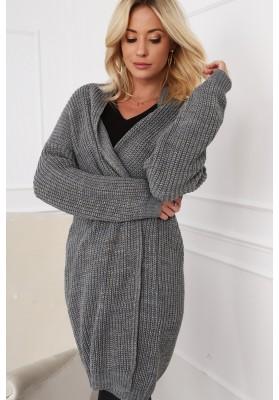 Dlhý dámsky sveter v modernej farbe, sivý