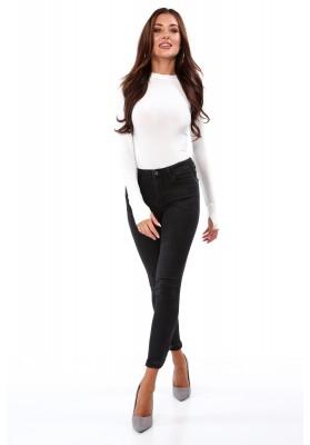 Čierne rifľové nohavice s ozdobným zapínaním na bokoch