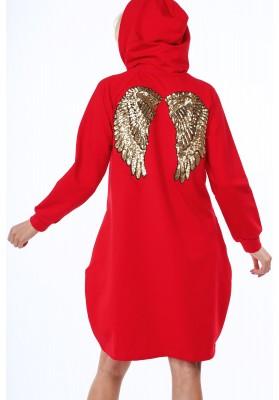 Bavlnená mikina s flitrovým vsadením krídel na chrbte, červená