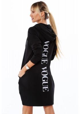 Dlhá dámska mikina s nápisom na chrbte, čierna