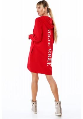 Dlhá dámska mikina s nápisom na chrbte, červená
