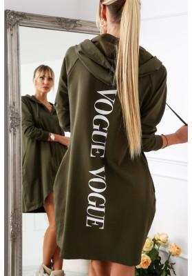 Dlhá dámska mikina s nápisom na chrbte, khaki