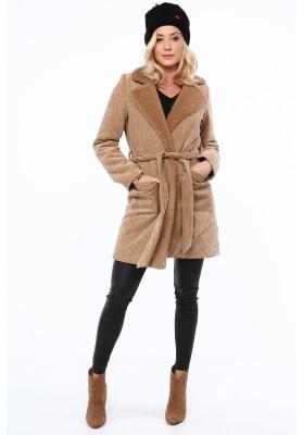 Pohodlný kabát z ovčej vlny, béžový