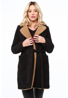 Pohodlný kabát z ovčej vlny, čierny