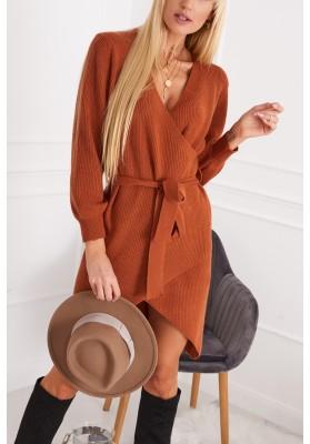Asymetrické šaty v zavinovacom vzhľade, oranžové