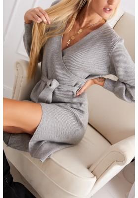 Asymetrické šaty v zavinovacom vzhľade, sivé