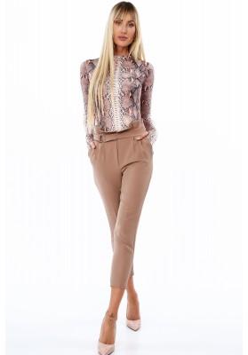 Moderné elegantné nohavice s vysokým pásom, hnedé