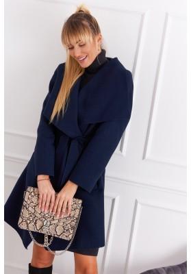Dámsky kabát so širokým golierom, modrý