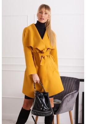 Dámsky kabát so širokým golierom, žltý