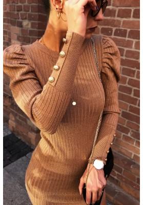 Zaujímavé šaty s trblietavým vláknom, hnedé