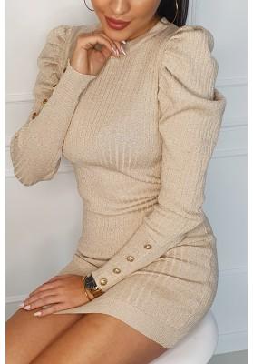 Zaujímavé šaty s trblietavým vláknom, béžové
