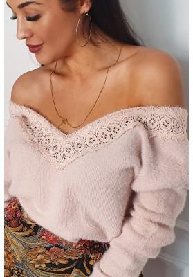 Jedinečný sveter s hlbokým V výstrihom, ružový