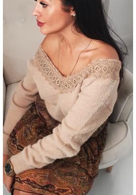 Jedinečný sveter s hlbokým V výstrihom, hnedý
