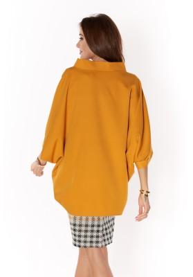 Bluzka damska oversize Oversize blúzka z bavlneného materiálu, žltá