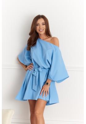 Moderné šaty v štýle Kimono, modré