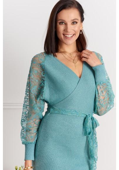 Elegantné šaty s čipkovanými rukávmi, tyrkysové