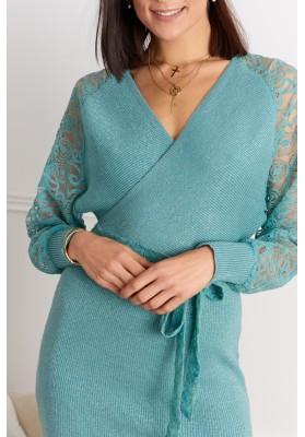 Elegantné šaty s čipkovanými rukávmi, tyrkysové8