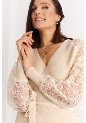 Elegantné šaty s čipkovanými rukávmi, béžové