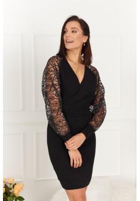 Elegantné šaty s čipkovanými rukávmi, čierne