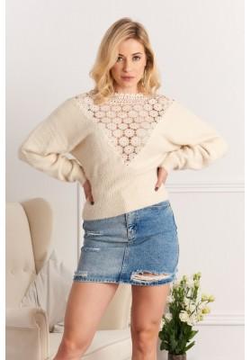 Dámsky sveter s čipkovým výstrihom na chrbte, béžový