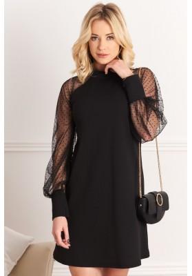 Elegantné šaty s transparentnými dlhými rukávmi