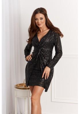 Elegantné šaty s výstrihom do tvaru V, čierne