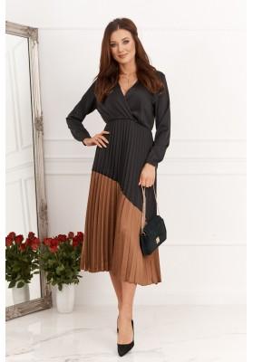 Moderné šaty so skladanou sukňou, čierna/hnedá
