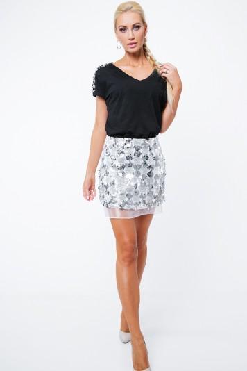 Moderná sukňa s flitrami a tylom, strieborná
