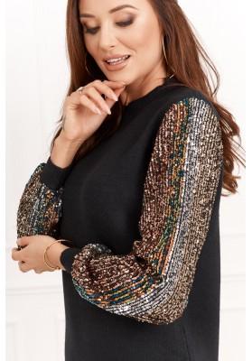 Dlhý dámsky sveter s farebnými flitrami na rukávoch, čierny