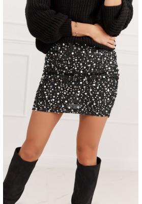 Mini sukňa s glamour flitrami čierna/strieborná