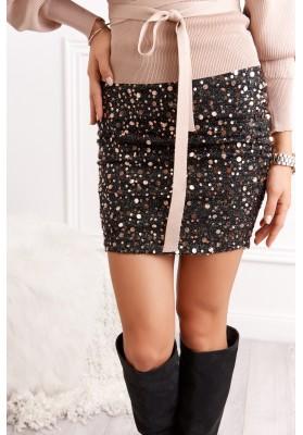 Mini sukňa s glamour flitrami čierna/zlatá