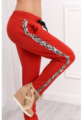 Moderné tepláky so sťahovaním v páse na šnúrku, červené