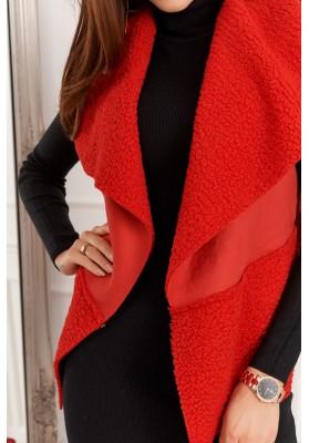 Dámska, teplá vesta, červená