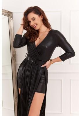 Puzdrové šaty s vlečkou, opaskom a výstrihom v tvare V, čierne