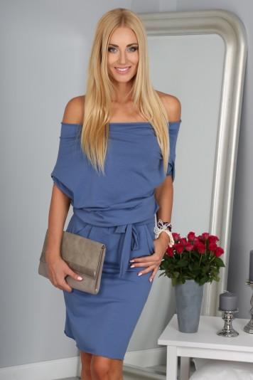 Krásne letné indigové šaty s viazaním okolo pásu