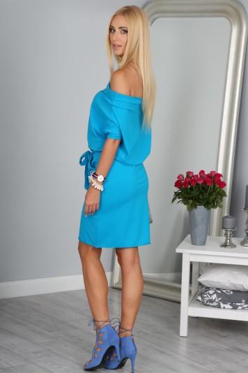 Krásne letné modré šaty s viazaním okolo pásu