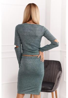 Set sukne a blúzky prepletaný trblietavým vláknom, zelený