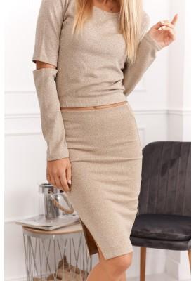 Set sukne a blúzky prepletaný trblietavým vláknom, béžový