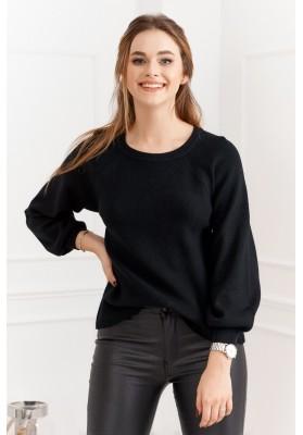 Dámsky sveter s priehľadným chrbtom, čierny