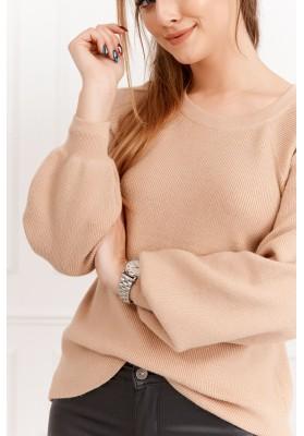 Dámsky sveter s priehľadným chrbtom, béžový