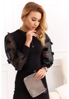 Puzdrové šaty s ozdobnými priesvitnými zvonovými rukávmi, čierne