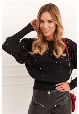 Krátky dámsky sveter s cvočkami, čierny