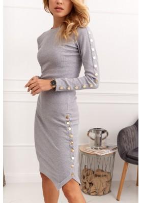 Praktické šaty s rázporkom na spodnom okraji , sivé